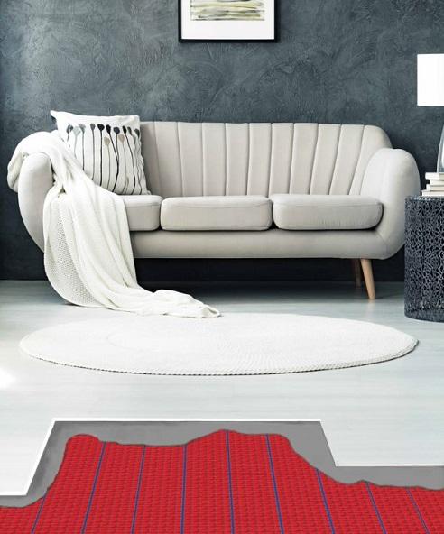 salon avec chauffage au sol Warmup