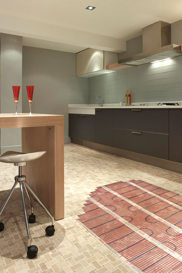 view of underfloor heating mat in kitchen
