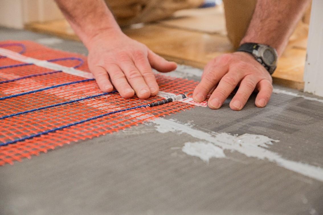 StickyMat floor heat installation low profile