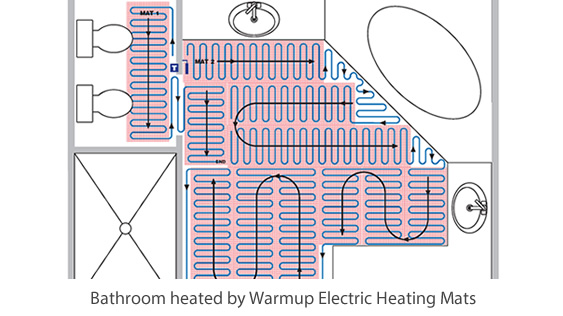 Electric floor heating for bathroom warmup for Heated bathroom floor thermostat