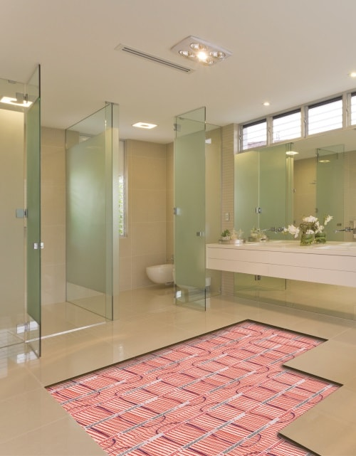 Bathroom with view of underfloor heating