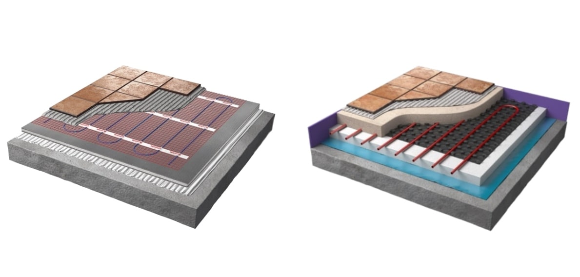 Side-by-side comparison of electric and water underfloor heating systems