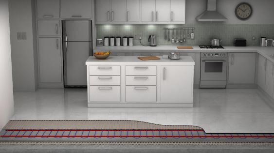 Full kitchen with loose cable layer cutaway