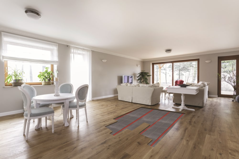 hardwood flooring with underfloor heating in the living room